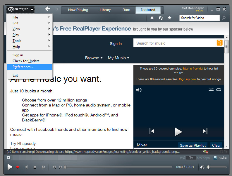 STEP2: Open  RealPlayer  Preferences